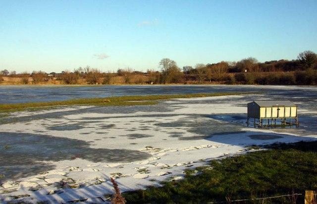 Frozen flooded field at Somerton