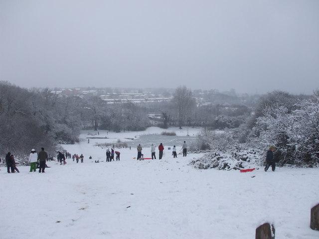 Sledging slope off Circle Way, Cardiff