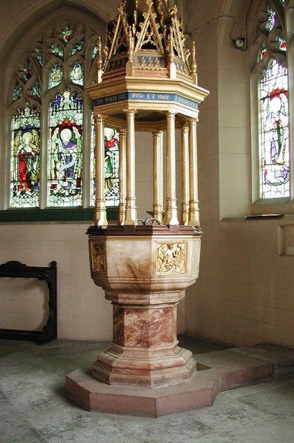 All Saints, Carshalton - Font & cover