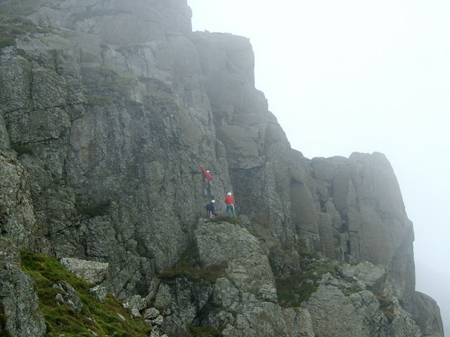 Climbers on Cambridge Crag, Bowfell