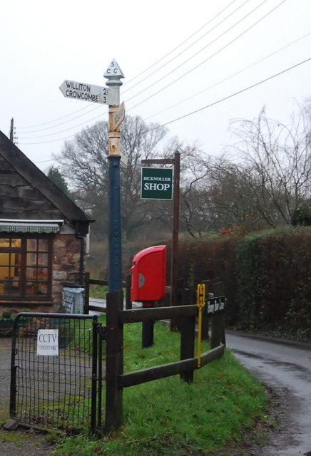 Road Sign & post box outside Bicknoller shop, Bicknoller