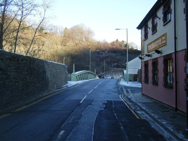 Trehafod Road and bridge over River Rhondda