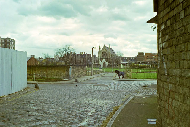 Pony and church, E1, early 1988