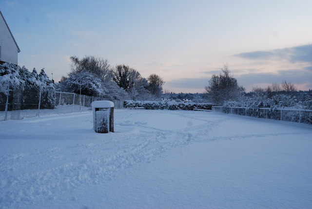 Snow covered car park, St John's School