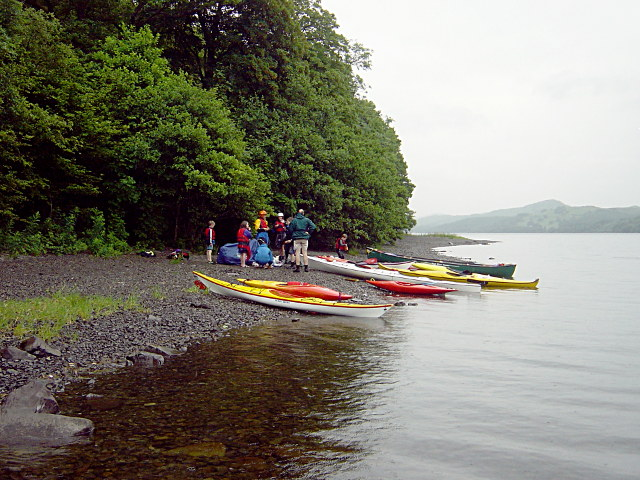 Kayak group on beach south of Brantwood