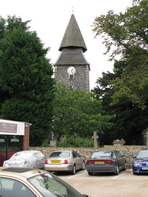 The tower of Upchurch church from Horsham Lane