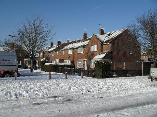 A snowy scene in Lockersley Road