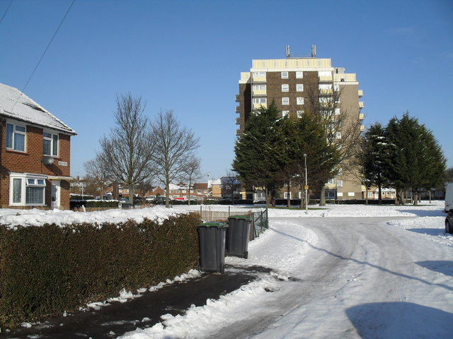 Looking from Hipley Road towards Solent House