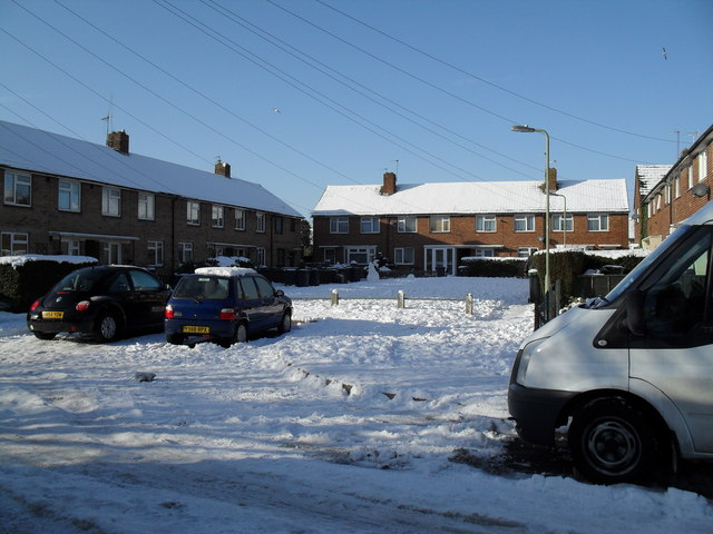 Snow covered homes in Hipley Road
