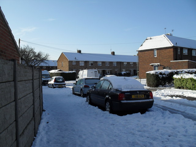 Mid section of a snowy Hipley Road