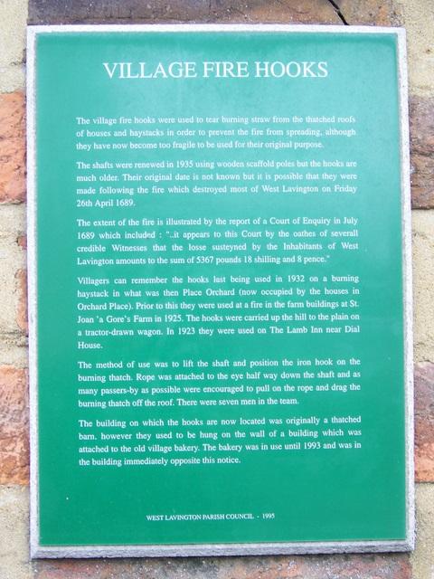 Fire hooks plaque, West Lavington