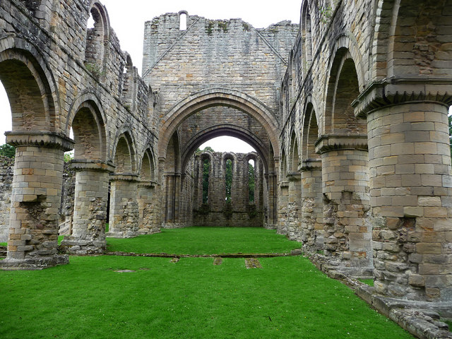 Buildwas Abbey, nave looking east