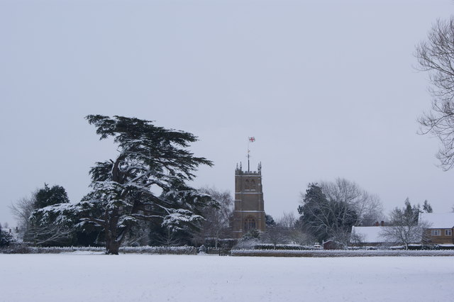 Martock Church in the snow.