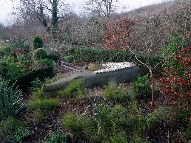 Mosaic crocodile in a Stamford garden