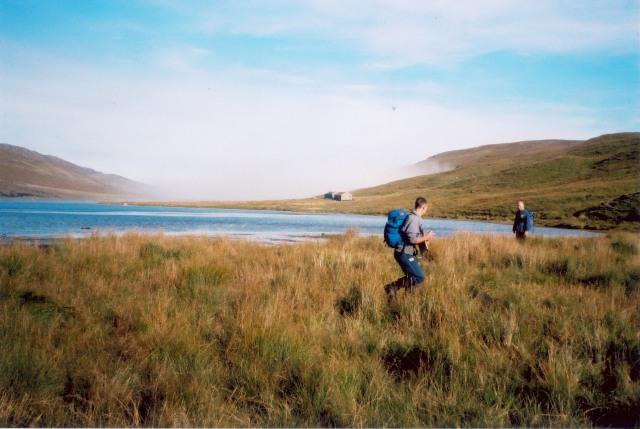Crossing boggy ground at the head of Loch a' Choire Mhòir
