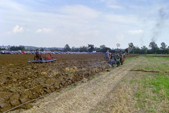 Steam ploughing, Barleylands, 1989