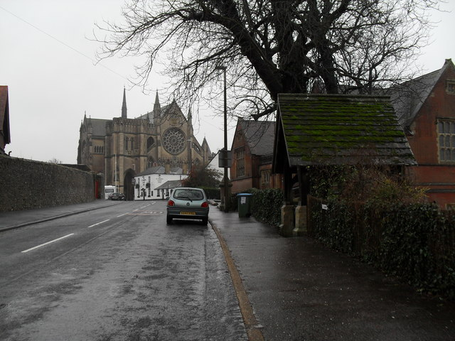 Looking from St Philip PC Primary School along London Road towards the cathedral