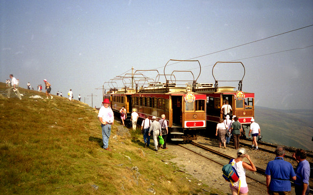All six cars together at Snaefell Summit