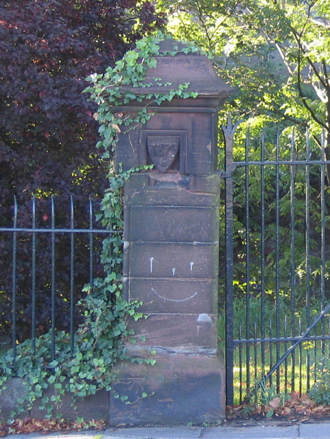 Bench mark on a gatepost in George Street