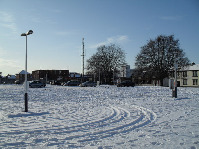 A snowy station car park at Havant