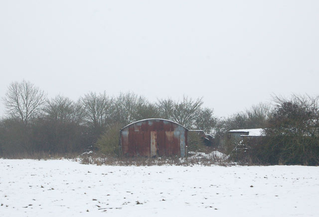 Farm buildings in the snow at Marston Doles