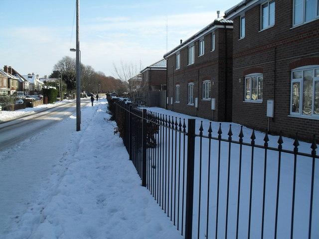 Snow covered pavement in Eastern Road