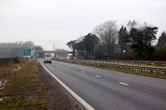 Looking west along the A45 near Dunchurch
