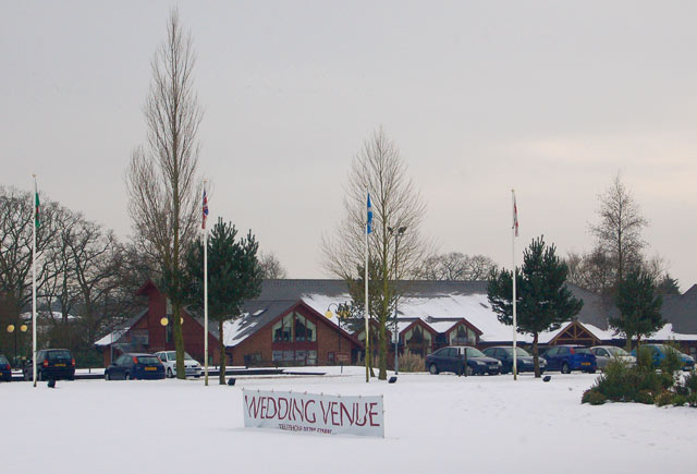 Snowy scene at Whitefields Hotel west of Dunchurch