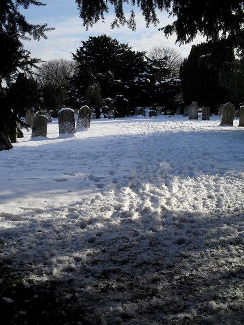 Snowy conditions in Havant Cemetery (1)