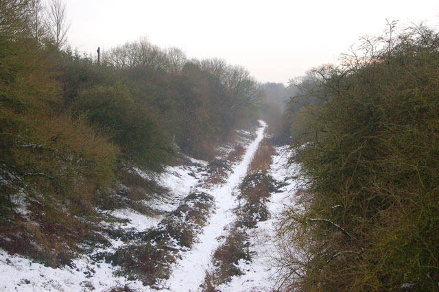 Looking south along the dismantled railway west of Dunchurch
