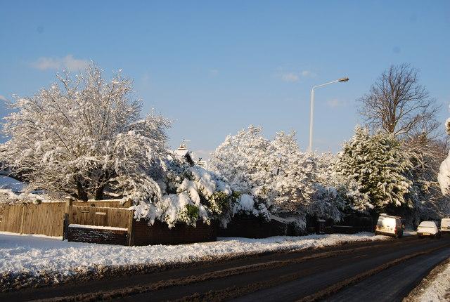 A snowy scene, London Rd