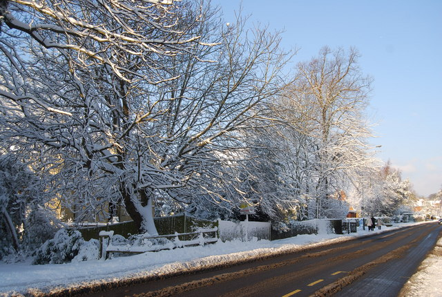 A snow scene, London Rd
