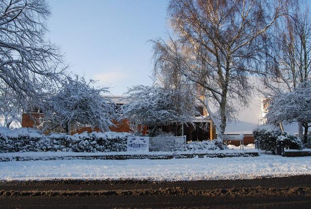 St Dunstan's Catholic Church - a snowy scene