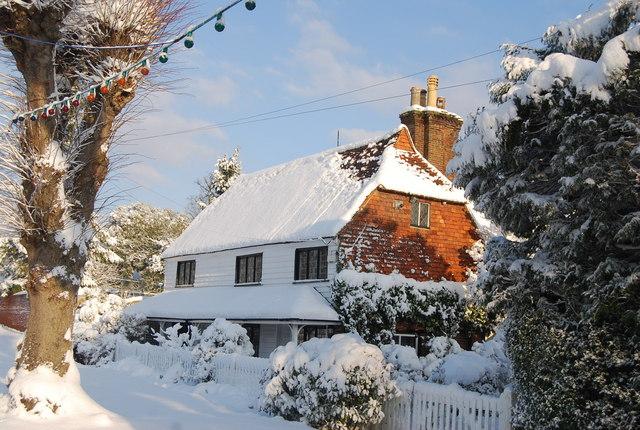 Stewarts Cottage in the snow