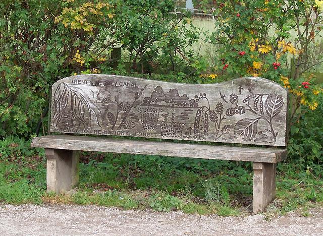 Decorative canalside seat near Alrewas, Staffordshire