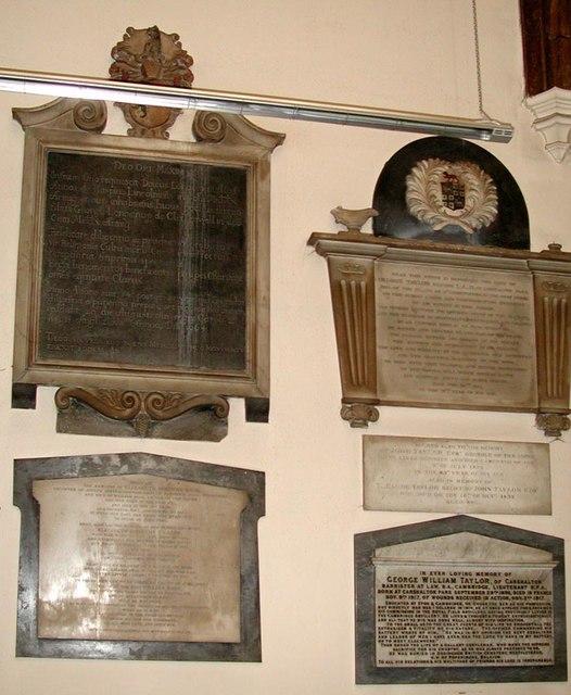All Saints, Carshalton - Wall monuments
