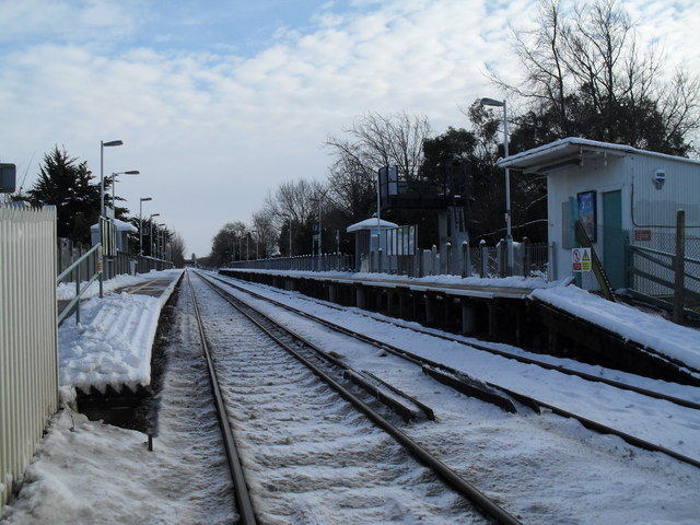 Warblington Station after January snow
