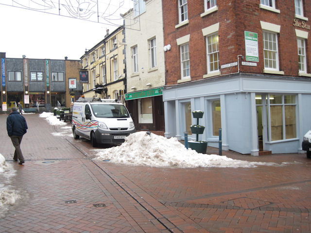Pile of snow in pedestrian precinct