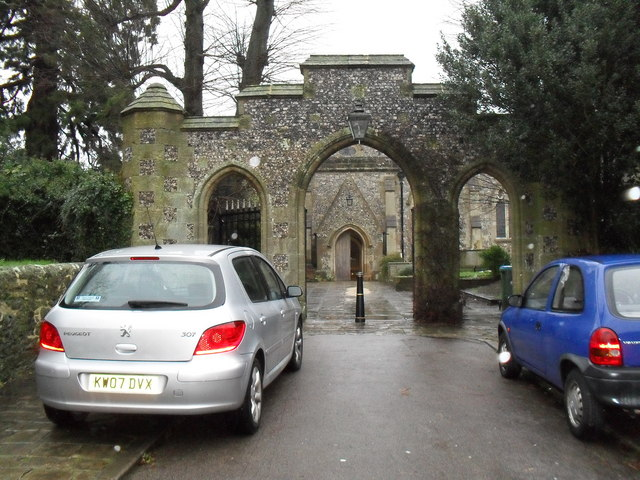Looking through an arch towards St Nicholas, Arundel