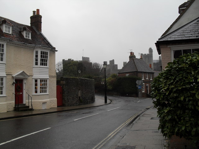 Looking from Maltravers Street towards Arundel Castle
