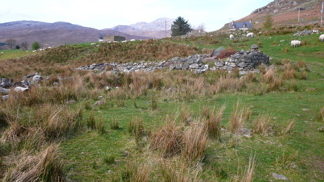Grazing land and ruined croft buildings at Coulags