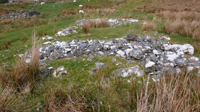 Foundations of C19th croft buildings at Coulags
