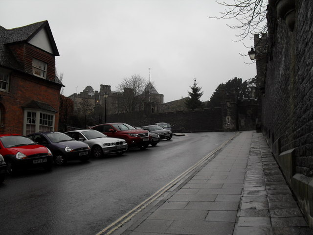 Parked cars at the top of the High Street