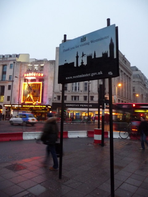 London: Westminster boundary sign at St. Giles Circus