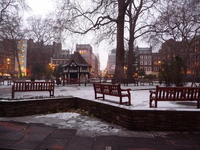 London: snow in Soho Square