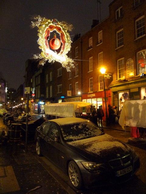London: Christmas lights in Earlham Street
