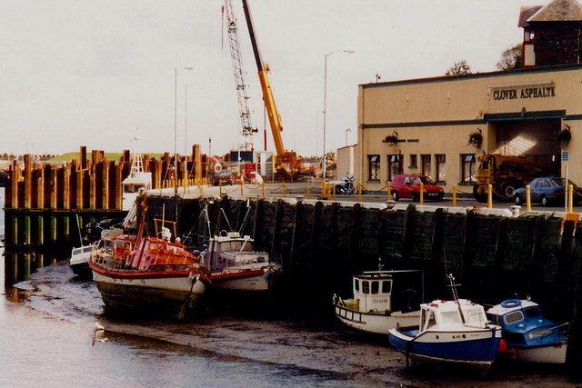 Douglas - Boats in quay and Clover Asphalte building