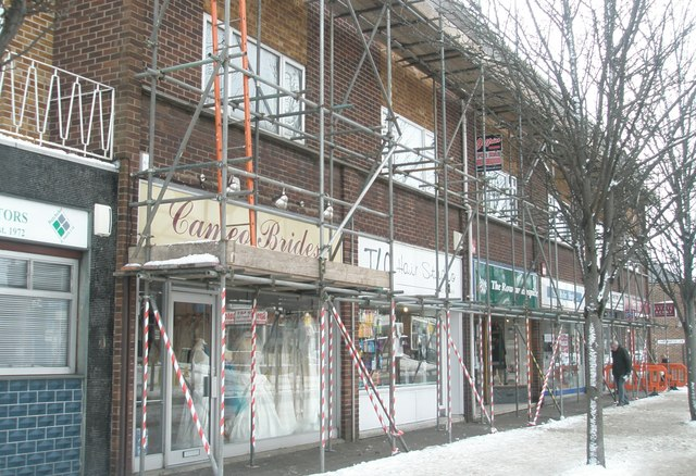 Scaffolding on  shops at Drayton