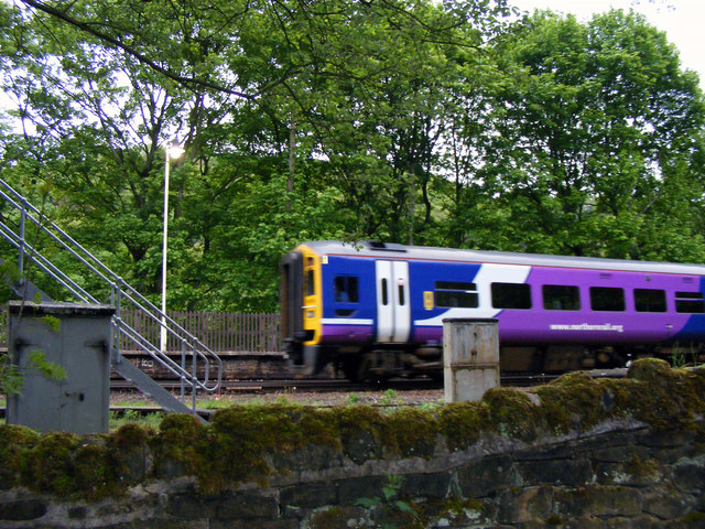 Caldervale line train entering Hebden Bridge station