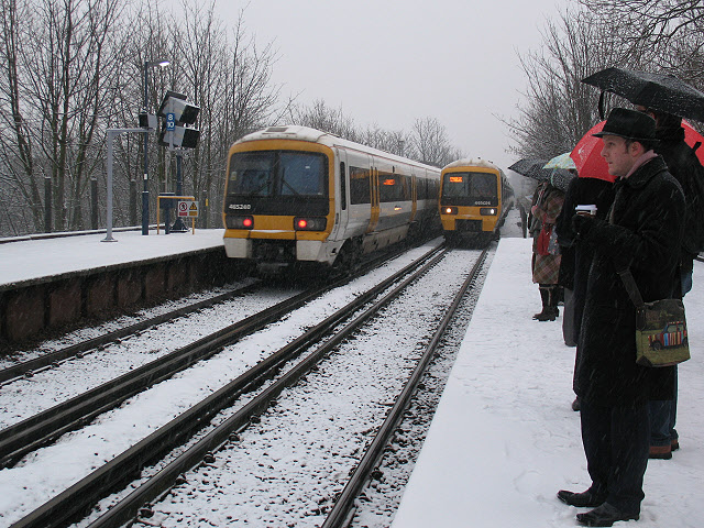 Commuting in the snow at Westcombe Park
